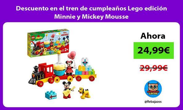 Descuento en el tren de cumpleaños Lego edición Minnie y Mickey Mousse