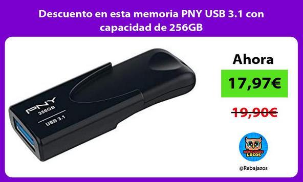 Descuento en esta memoria PNY USB 3.1 con capacidad de 256GB