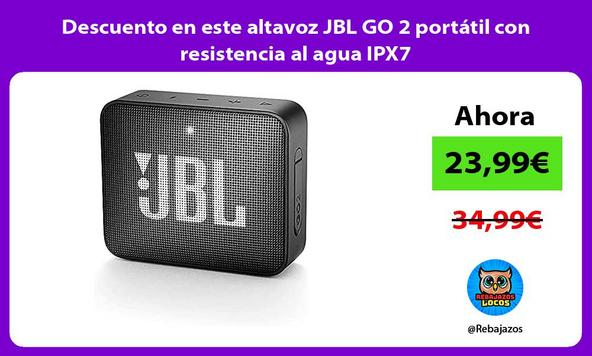 Descuento en este altavoz JBL GO 2 portátil con resistencia al agua IPX7