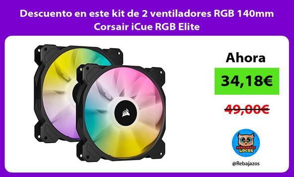 Descuento en este kit de 2 ventiladores RGB 140mm Corsair iCue RGB Elite