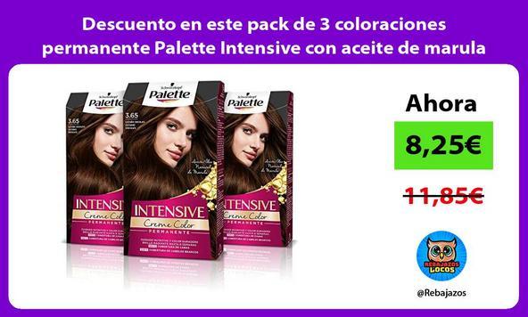 Descuento en este pack de 3 coloraciones permanente Palette Intensive con aceite de marula