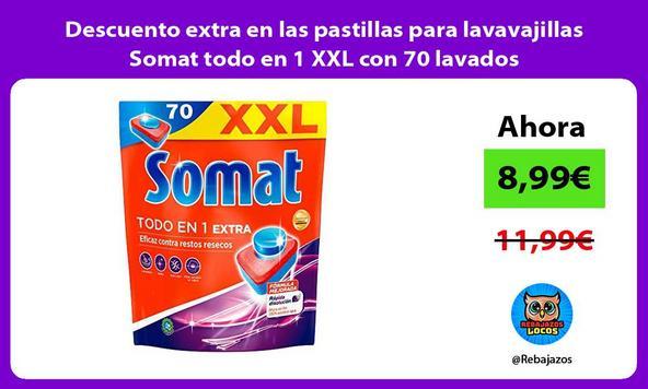 Descuento extra en las pastillas para lavavajillas Somat todo en 1 XXL con 70 lavados
