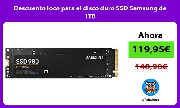 Descuento loco para el disco duro SSD Samsung de 1TB