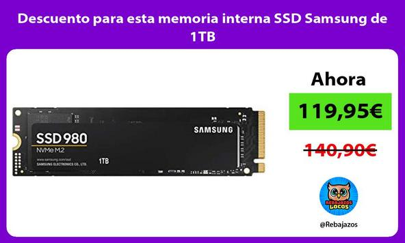 Descuento para esta memoria interna SSD Samsung de 1TB