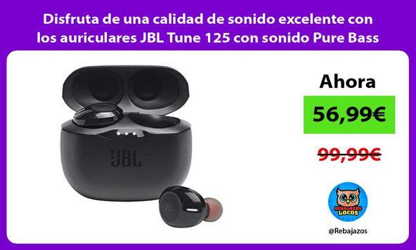 Disfruta de una calidad de sonido excelente con los auriculares JBL Tune 125 con sonido Pure Bass