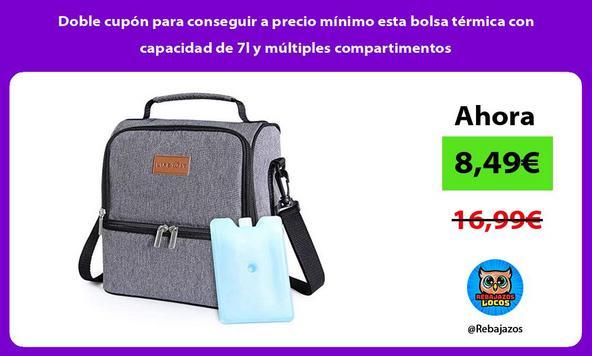Doble cupón para conseguir a precio mínimo esta bolsa térmica con capacidad de 7l y múltiples compartimentos