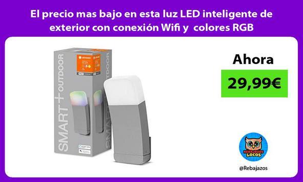 El precio mas bajo en esta luz LED inteligente de exterior con conexión Wifi y colores RGB