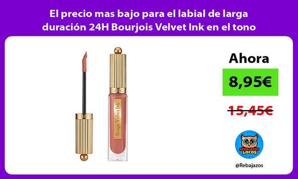 El precio mas bajo para el labial de larga duración 24H Bourjois Velvet Ink en el tono vainilla