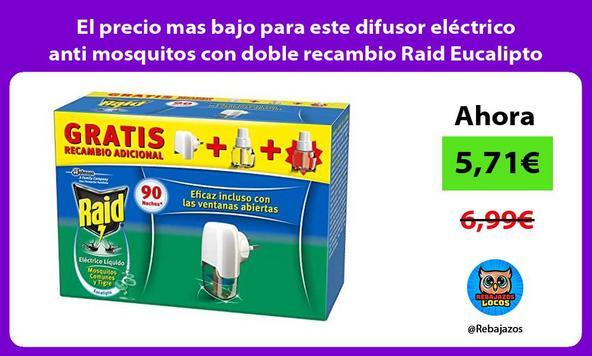 El precio mas bajo para este difusor eléctrico anti mosquitos con doble recambio Raid Eucalipto