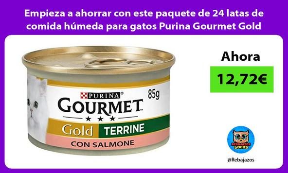 Empieza a ahorrar con este paquete de 24 latas de comida húmeda para gatos Purina Gourmet Gold
