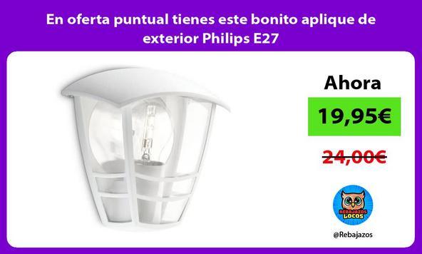 En oferta puntual tienes este bonito aplique de exterior Philips E27