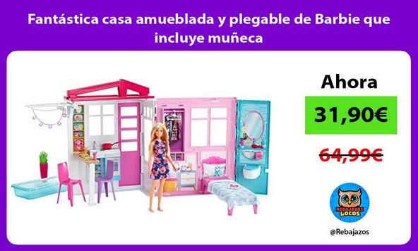 Fantástica casa amueblada y plegable de Barbie que incluye muñeca