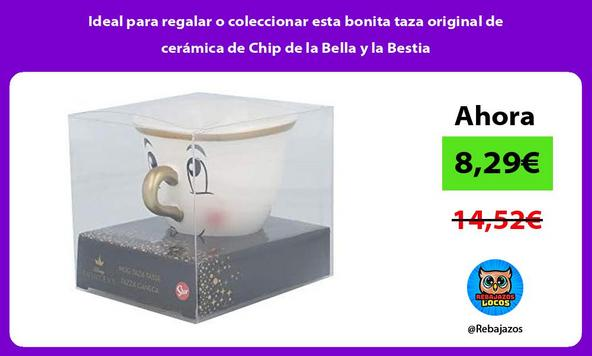 Ideal para regalar o coleccionar esta bonita taza original de cerámica de Chip de la Bella y la Bestia