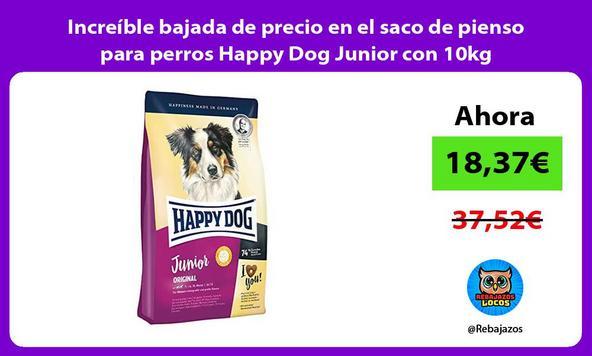 Increíble bajada de precio en el saco de pienso para perros Happy Dog Junior con 10kg