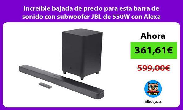 Increíble bajada de precio para esta barra de sonido con subwoofer JBL de 550W con Alexa integrada