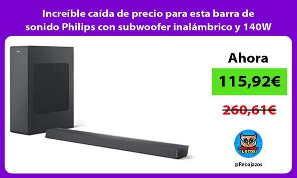 Increíble caída de precio para esta barra de sonido Philips con subwoofer inalámbrico y 140W