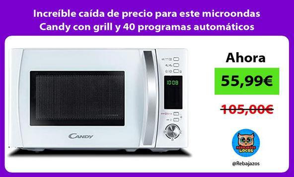 Increíble caída de precio para este microondas Candy con grill y 40 programas automáticos