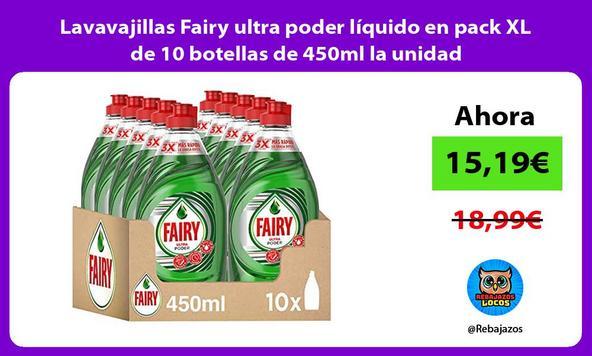 Lavavajillas Fairy ultra poder líquido en pack XL de 10 botellas de 450ml la unidad