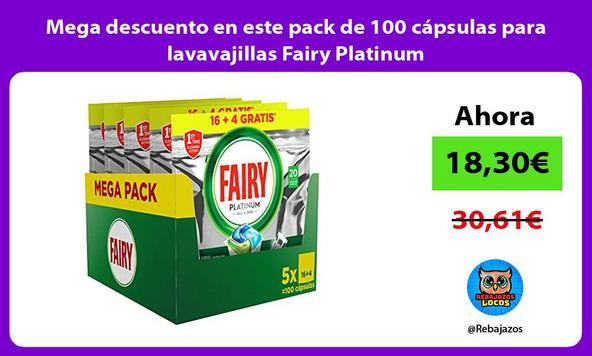 Mega descuento en este pack de 100 cápsulas para lavavajillas Fairy Platinum