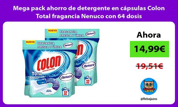 Mega pack ahorro de detergente en cápsulas Colon Total fragancia Nenuco con 64 dosis