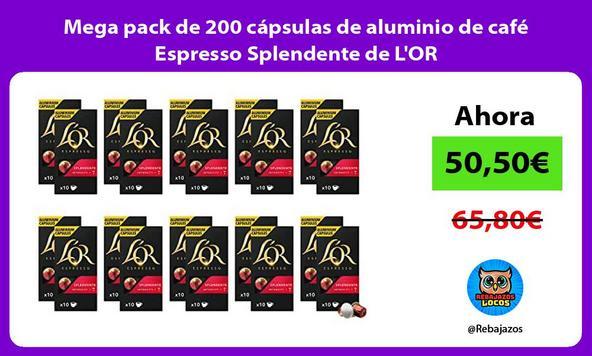 Mega pack de 200 cápsulas de aluminio de café Espresso Splendente de L'OR