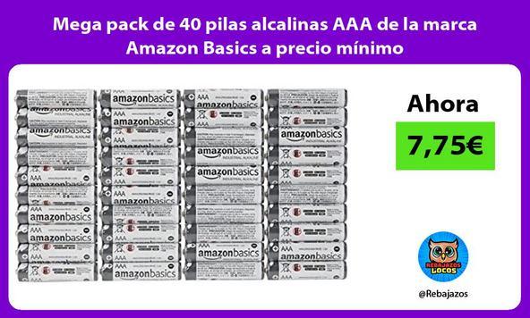 Mega pack de 40 pilas alcalinas AAA de la marca Amazon Basics a precio mínimo