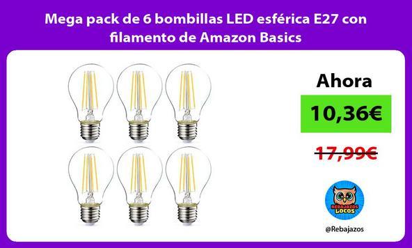 Mega pack de 6 bombillas LED esférica E27 con filamento de Amazon Basics