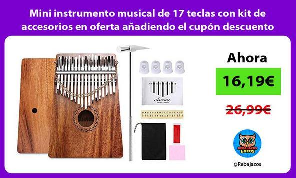 Mini instrumento musical de 17 teclas con kit de accesorios en oferta añadiendo el cupón descuento