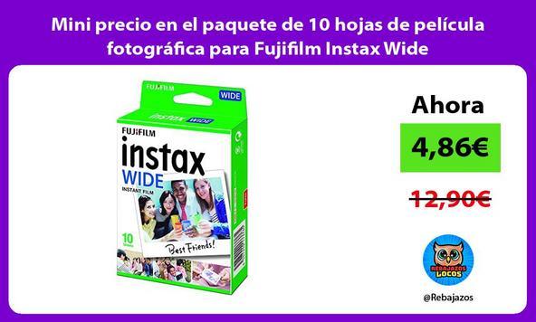 Mini precio en el paquete de 10 hojas de película fotográfica para Fujifilm Instax Wide
