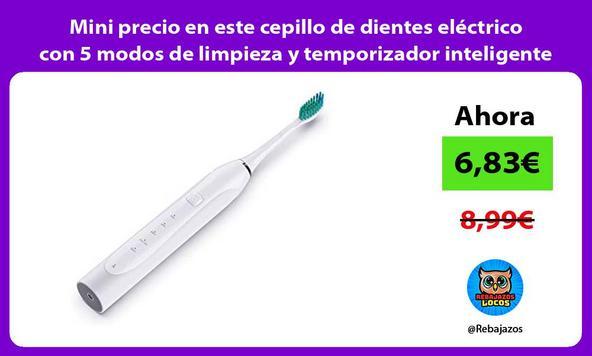 Mini precio en este cepillo de dientes eléctrico con 5 modos de limpieza y temporizador inteligente