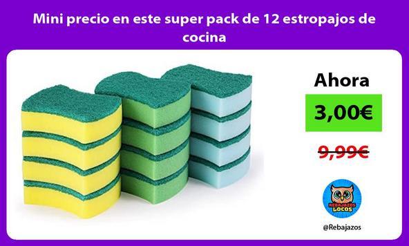Mini precio en este super pack de 12 estropajos de cocina