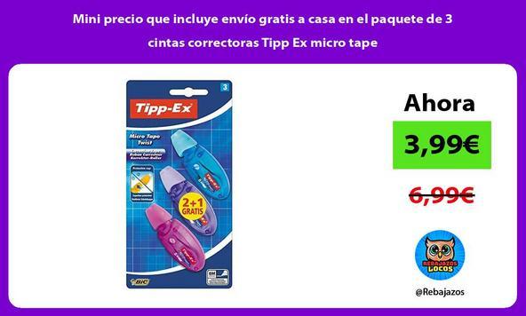 Mini precio que incluye envío gratis a casa en el paquete de 3 cintas correctoras Tipp Ex micro tape