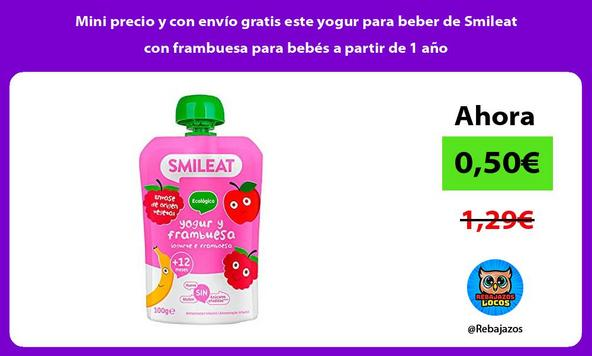 Mini precio y con envío gratis este yogur para beber de Smileat con frambuesa para bebés a partir de 1 año