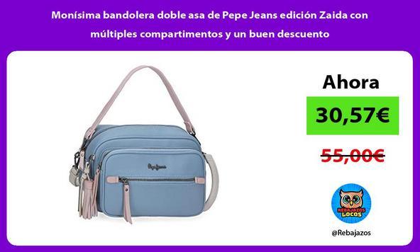 Monísima bandolera doble asa de Pepe Jeans edición Zaida con múltiples compartimentos y un buen descuento