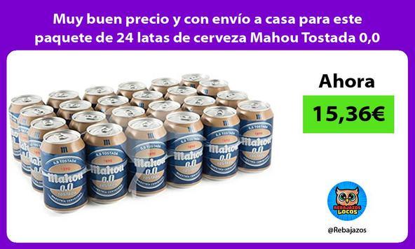 Muy buen precio y con envío a casa para este paquete de 24 latas de cerveza Mahou Tostada 0,0
