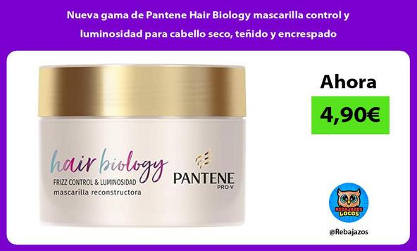 Nueva gama de Pantene Hair Biology mascarilla control y luminosidad para cabello seco, teñido y encrespado