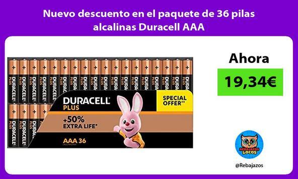 Nuevo descuento en el paquete de 36 pilas alcalinas Duracell AAA