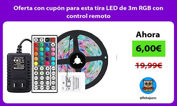 Oferta con cupón para esta tira LED de 3m RGB con control remoto