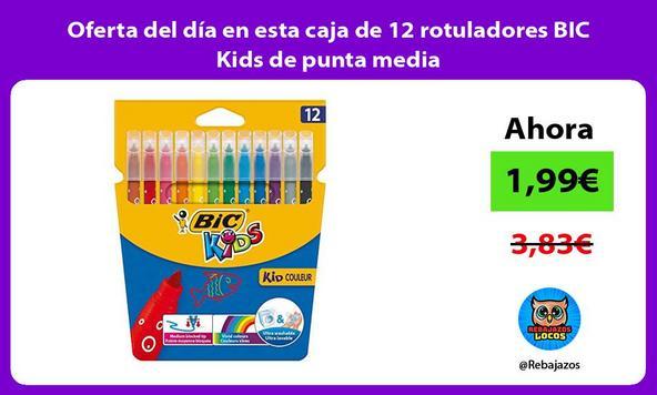 Oferta del día en esta caja de 12 rotuladores BIC Kids de punta media