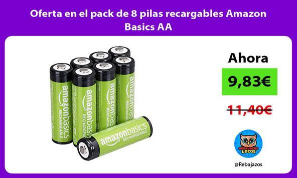 Oferta en el pack de 8 pilas recargables Amazon Basics AA