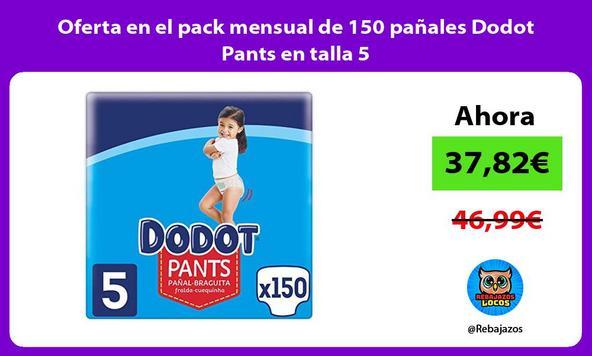 Oferta en el pack mensual de 150 pañales Dodot Pants en talla 5