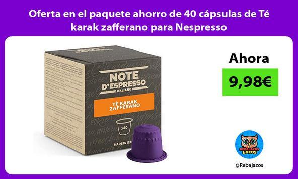 Oferta en el paquete ahorro de 40 cápsulas de Té karak zafferano para Nespresso
