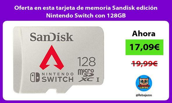Oferta en esta tarjeta de memoria Sandisk edición Nintendo Switch con 128GB