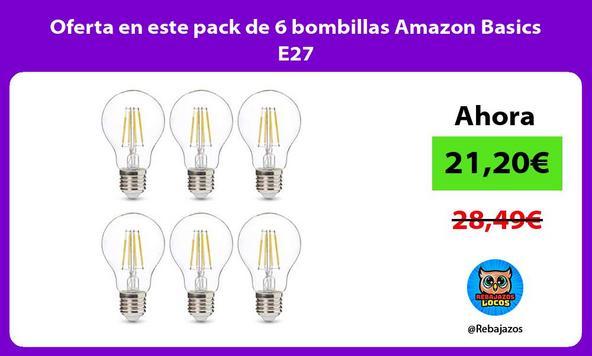 Oferta en este pack de 6 bombillas Amazon Basics E27