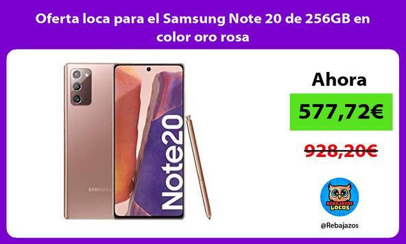 Oferta loca para el Samsung Note 20 de 256GB en color oro rosa