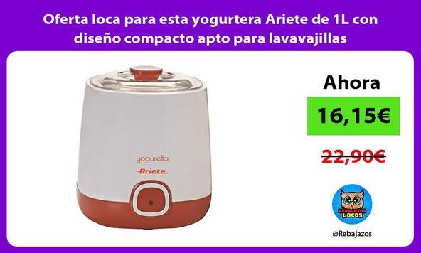 Oferta loca para esta yogurtera Ariete de 1L con diseño compacto apto para lavavajillas