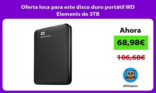 Oferta loca para este disco duro portátil WD Elements de 3TB