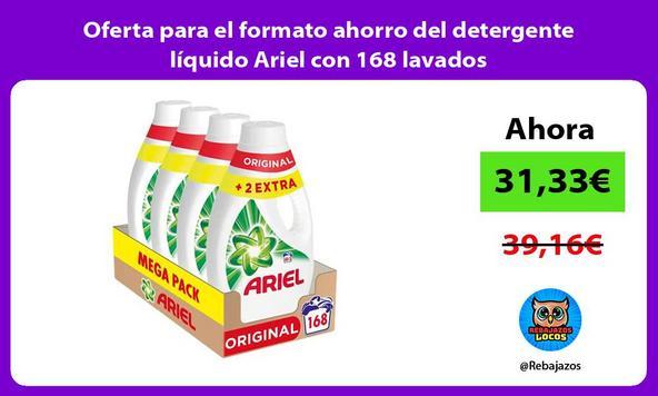 Oferta para el formato ahorro del detergente líquido Ariel con 168 lavados