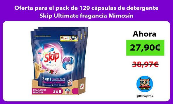 Oferta para el pack de 129 cápsulas de detergente Skip Ultimate fragancia Mimosín