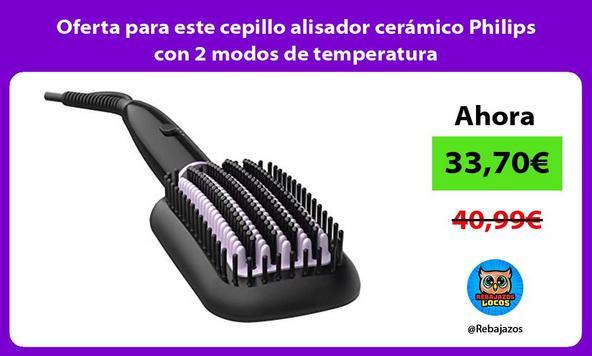 Oferta para este cepillo alisador cerámico Philips con 2 modos de temperatura